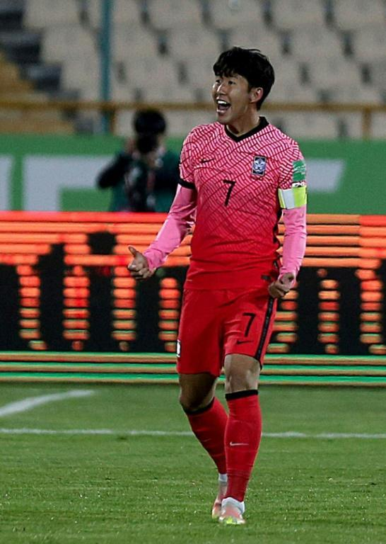 Son Heung-min's goal in Teheran was cancelled out by Iran's equaliser (AFP/ATTA KENARE)