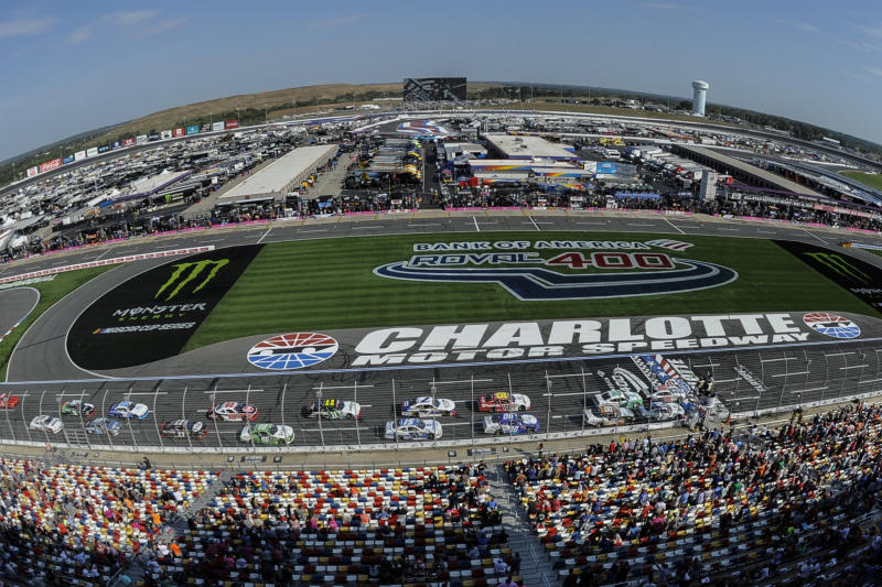 FILE - In this Sept. 28, 2019, file photo Chase Briscoe (98) leads the field of cars to start the NASCAR Xfinity Series auto race at Charlotte Motor Speedway in Concord, N.C. General Motors is planning to open a new technical center for performance and auto racing near the Charlotte Motor Speedway. The center will focus on transferring auto racing knowledge into engineering for vehicles that are sold to the public. (AP Photo/Mike McCarn, File)