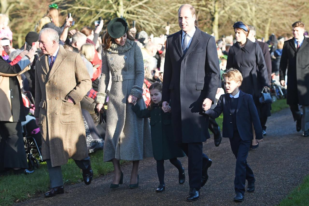 "The brother-sister duo joined parents <a href=""https://people.com/tag/kate-middleton/"">Kate Middleton</a> and <a href=""https://people.com/tag/prince-william/"">Prince William</a> and grandpa Prince Charles on Wednesday as they walked with the rest of the royal family to the Church of St. Mary Magdalene on the Queen's Sandringham estate in Norfolk."