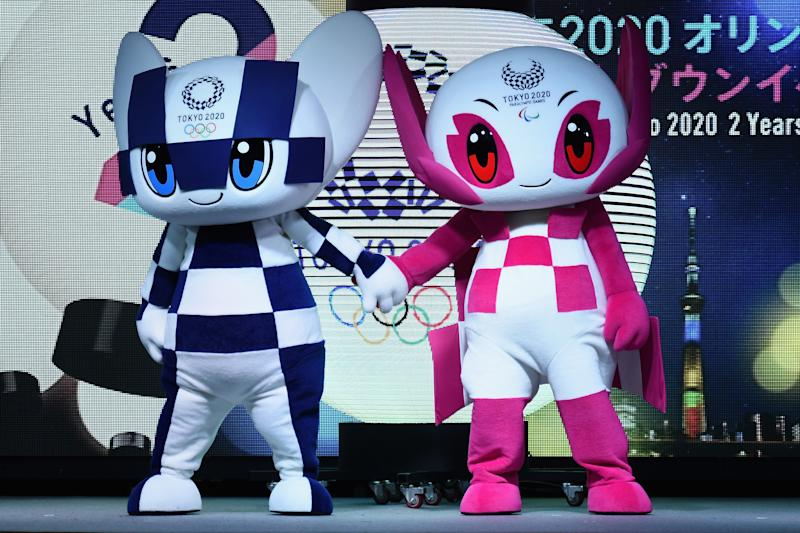 Tokyo 2020 mascots Miraitowa and Someity will be all over Tokyo. (Getty)