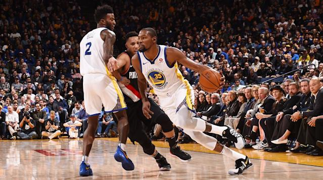 "<p>The Warriors have gone to great lengths to avoid relying on pick-and-roll basketball. Steve Kerr seems to find it all a bit formulaic—functional enough, but predictable in a way he would prefer his teams not to be. Instead, Golden State whirls in a concert of cuts and curls, calling most every defender into action simultaneously rather than putting two on the spot. This system—one that produces beautiful basketball as an almost incidental byproduct—leans on the idea that defenses will have to respond to the movements of two of the best shooters in the world.</p><p>At present, the Warriors are without one. Stephen Curry has <a href=""https://www.si.com/nba/2017/12/04/warriors-stephen-curry-injury-update-ankle-crutches"" rel=""nofollow noopener"" target=""_blank"" data-ylk=""slk:missed five straight games"" class=""link rapid-noclick-resp"">missed five straight games</a> due to an ankle injury, an absence that limits the potency of what the Warriors typically run. Draymond Green, an essential defender and playmaker, has missed four of those five games with a troublesome shoulder, cutting Golden State's All-NBA core in half. The Warriors are hardly without talent, but in Curry and Green, specifically, they lack those players who typically give them shape.</p><p>They've gone 5–0 regardless, changing shape at times between the Warriors we know and the Warriors they try not to be. With Durant at the helm, this is a pick-and-roll team—not to the extent of the Rockets or the Hornets, perhaps, but noticeably more so than when Curry is active. Defenses are kept at bay by inversion. Durant assumes control of the ball in the absence of the team's point guard and point forward, often working around screens set by his shortest teammates. </p><p>It is already impossible to consistently deny Durant, a seven-footer who stops and shoots with alarming ease, access to his lethal pull-up jumper. Adding a ball screen to the equation devastates even sharp execution and best efforts. It takes favorable circumstances for a defender to even scramble his way into Durant's line of sight, should he decide to fire on the go. The Lakers learned this the hard way on Monday night, as the 6'6"" Lonzo Ball watched Durant's game-winning shot soar over his head.</p><p>Durant, without question, is Golden State's best candidate to absorb the responsibilities that Curry and Green leave behind. Solid as Klay Thompson may be, his iffy handle doesn't allow his game to scale. More shots may come his way by nature of Curry's usual load dissipating, but Thompson is ultimately doing slightly more of the same. Durant is living in a different world—still curling and posting and isolating as the Warriors want him to, but also running the offense and setting the stage for everyone involved. To average 34.2 points per game—most in the league over the past two weeks—on 61.3% true shooting is madness. Bolstering that line with with 10.4 rebounds and 7.4 assists a night takes that lunacy to an entirely different level.</p><p>Durant had previously done a masterful job in moonlighting as Green on defense, where his length could mimic some of what the NBA's most versatile defender does so well. Now he seems to be modeling Green's playmaking just as deftly—somehow walking the line between go-to scorer and willing passer. Considering how easily Durant could hunt down a shot of his own, the lack of hesitation to his passing game is admirable. Durant wants to hit a teammate ahead of him on the break. He wants to draw two defenders on the catch and skip the ball to the open man. He wants to stride through the open floor and kick a pass to second-year guard in the corner, playing on a two-way contract:</p><p>The Warriors could win some games without Curry and Green no matter how they chose to play. They're running the table because Durant is dominant without strangling the life out of the underlying system. Kerr's principles of movement and passing still apply, only differently. Certain allowances are made for Durant to give this injured team its own way of creating playmaking momentum. As a result, nearly every member of the Warriors ensemble has had their moment. If it weren't enough that Golden State were so star-rich, they support some of the best players in the game with impressively functional depth.</p><p>None of Andre Iguodala, Omri Casspi, David West, or Shaun Livingston is a volume scorer, but each is so adaptable as to stumble into 15 points on a given night by playing in the flow of the game. Durant will do the heavy lifting. Thompson produces reliably and the team defense—even without Green—has been stout. All that's left is for the role players to find whatever organic means to contribute a particular game allows:</p><p>Short two of their best players (and their starting center, though that seems less consequential given that it's Zaza Pachulia), the Warriors are structurally in line with much of the league: there's one superstar, one supporting All-Star, a handful of veterans, and a selection of prospects. But this team is in such a state that on Monday they started second-round picks from the past two drafts along with JaVale McGee for good measure ... and won. It's not difficult to discern that all-time talent is what gives Golden State their dynastic potential. This run without Curry and Green, however, bears reminders of both how exceptional Durant can be and how much better the Warriors are at the nuts and bolts of basketball than almost everyone else.</p>"