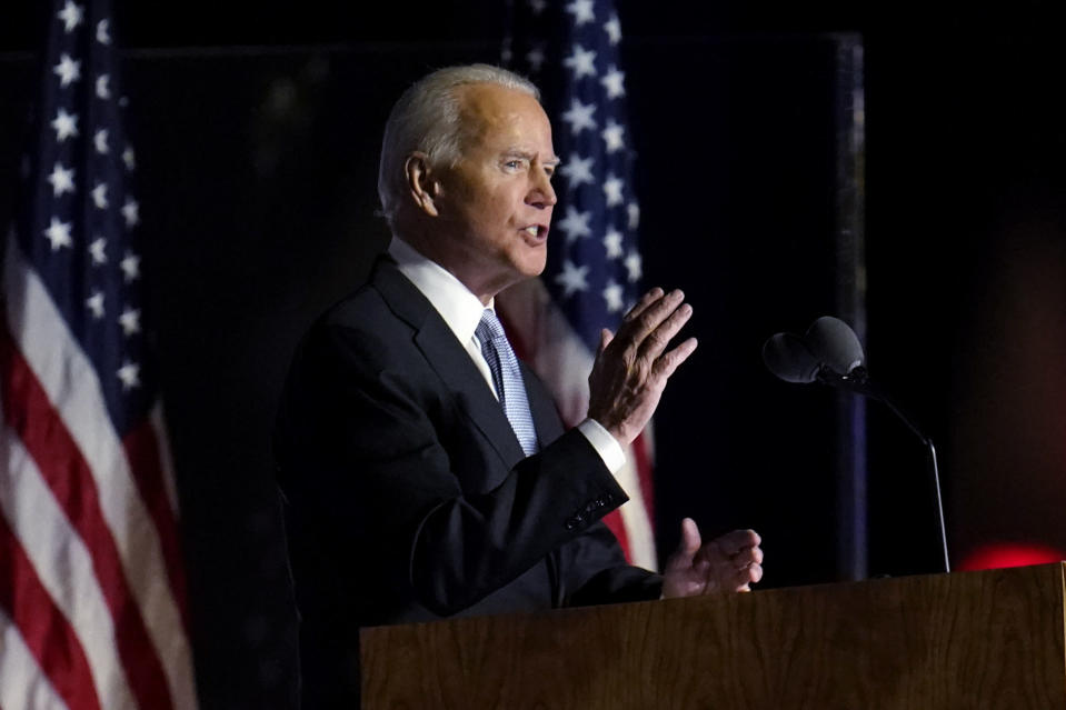 President-elect Joe Biden speaks in Wilmington, Del., Saturday, Nov. 7, 2020. (AP Photo/Paul Sancya)