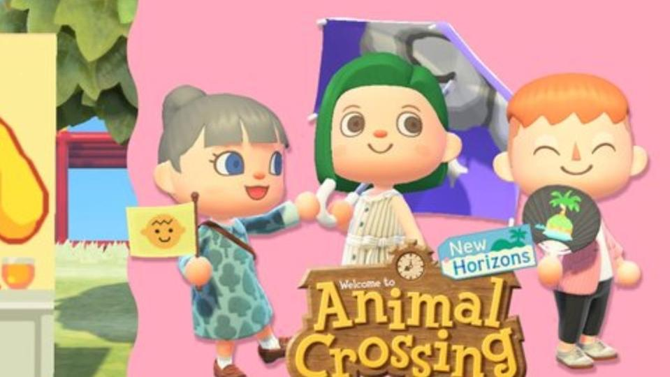 a photo of three animal crossing people on a pink background with animal crossing logo on it