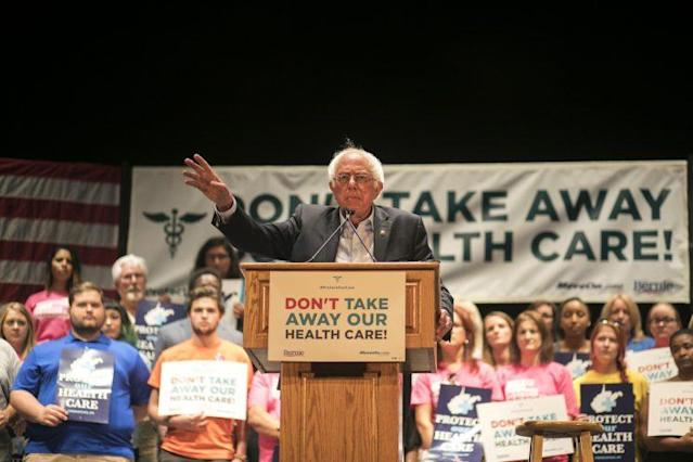 Sen. Bernie Sanders speaks at a rally against Trumpcare in Charleston, W.Va., June 25, 2017. (Photo: Maddie McGarvey/Getty Images for MoveOn.org)