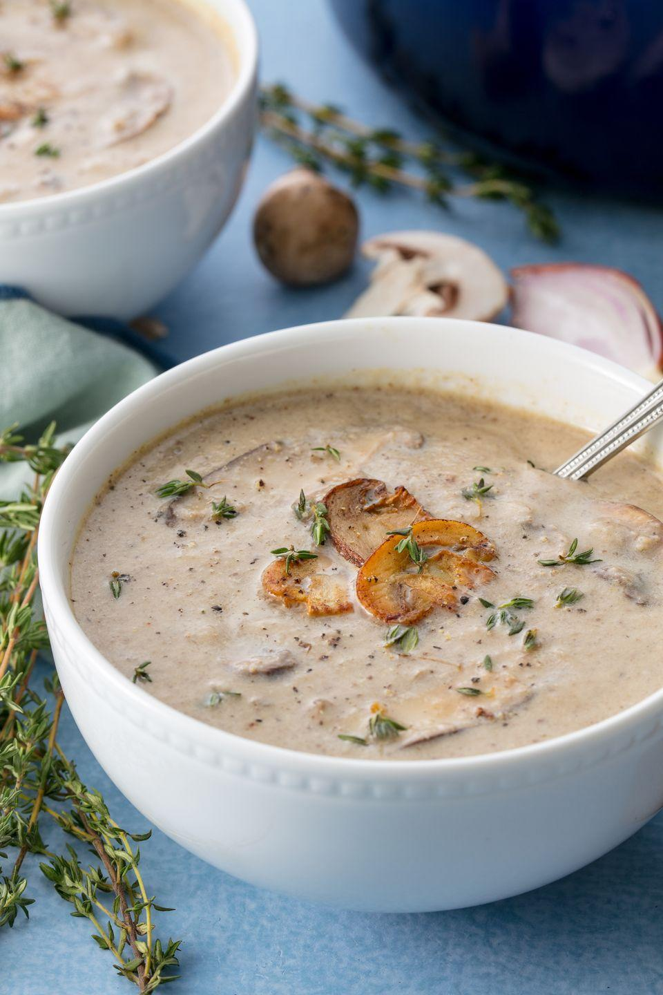 "<p>A creamy, delicious soup the French would be proud of.</p><p>Get the recipe from <a href=""https://www.delish.com/cooking/recipe-ideas/recipes/a55765/cream-of-mushroom-soup-recipe/"" rel=""nofollow noopener"" target=""_blank"" data-ylk=""slk:Delish"" class=""link rapid-noclick-resp"">Delish</a>.</p>"