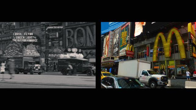 A split-screen tour of the same streets in Midtown New York City, from the nineteen-thirties and today.