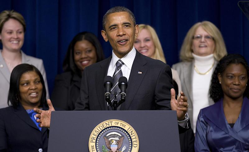 President Barack Obama speaks at the White House Forum on Women and the Economy, Friday, April 6, 2012, in the South Court Auditorium of the Eisenhower Executive Office Building on the White House complex in Washington.  (AP Photo/Carolyn Kaster)