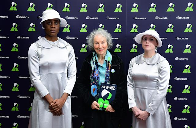 Margaret Atwood on the global publication day of her new book: The Testaments, a sequel to The Handmaid's Tale. (Ian West/PA Images via Getty Images)