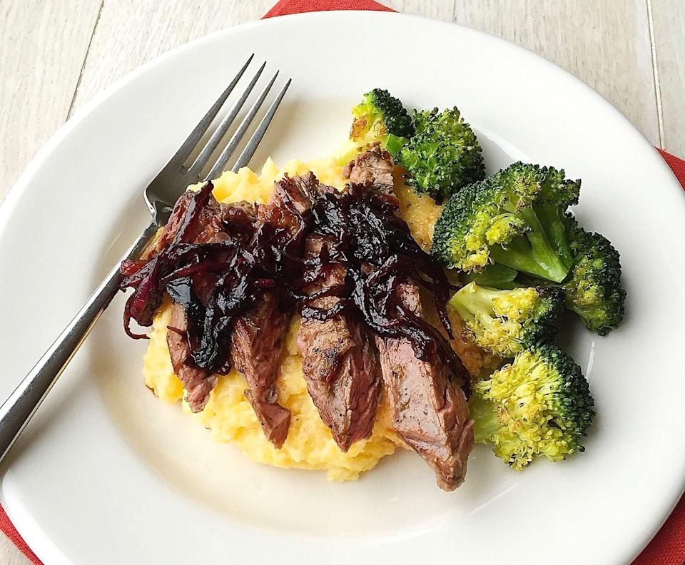 """<p>Who needs steak and potatoes when you can have steak and polenta? </p><p>Get the recipe from <a href=""""https://www.delish.com/cooking/recipe-ideas/recipes/a44792/skirt-steak-balsamic-glazed-onions-creamy-polenta-recipe/"""" rel=""""nofollow noopener"""" target=""""_blank"""" data-ylk=""""slk:Delish"""" class=""""link rapid-noclick-resp"""">Delish</a>. </p>"""