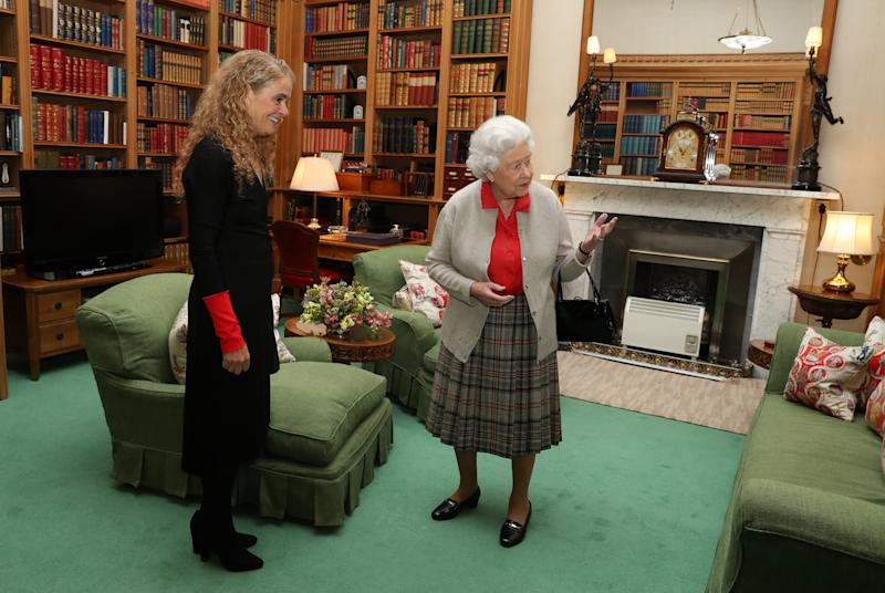 Canadian Governor General Designate Julie Payette meets Queen Elizabeth II during a private audience at Balmoral Castle, Scotland.