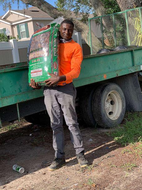 PHOTO: Amonte Green, 20, recently landed a landscaping job in Florida. (Melissa Lee)