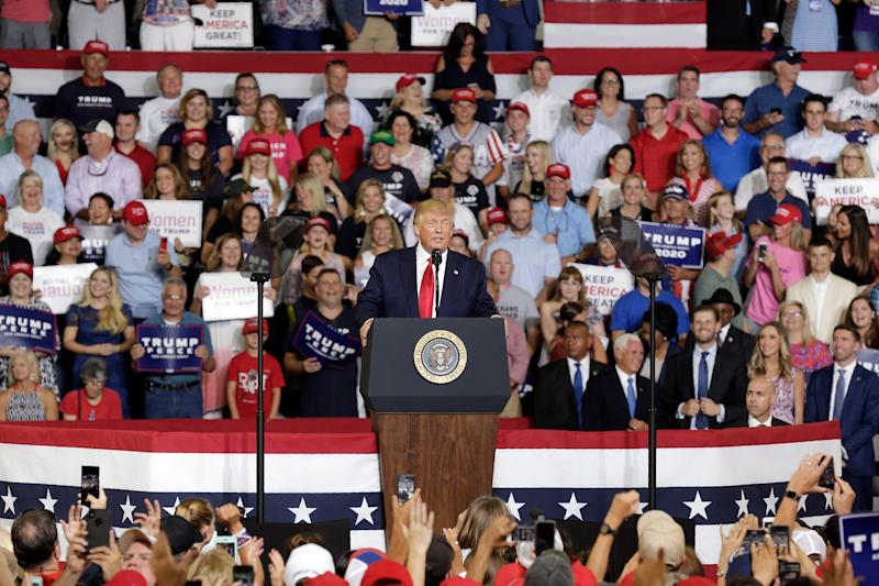 President Trump speaks at a campaign rally in Greenville, N.C., Wednesday, July 17, 2019.