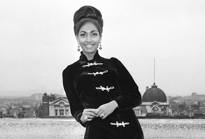 Reita Faria of India, Miss World 1966, stands posing on the terrace of a hotel in London, England, on Sept. 14, 1967. (AP Photo)