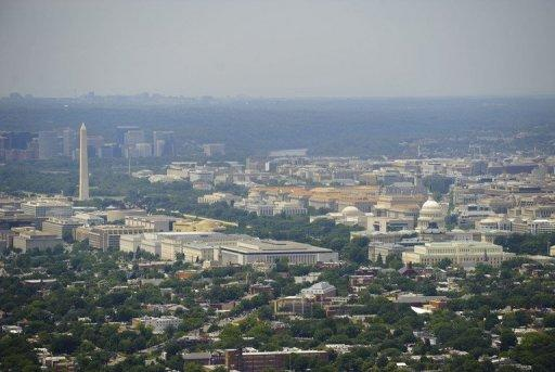 An aerial view of Washington, DC, pictured in 2009