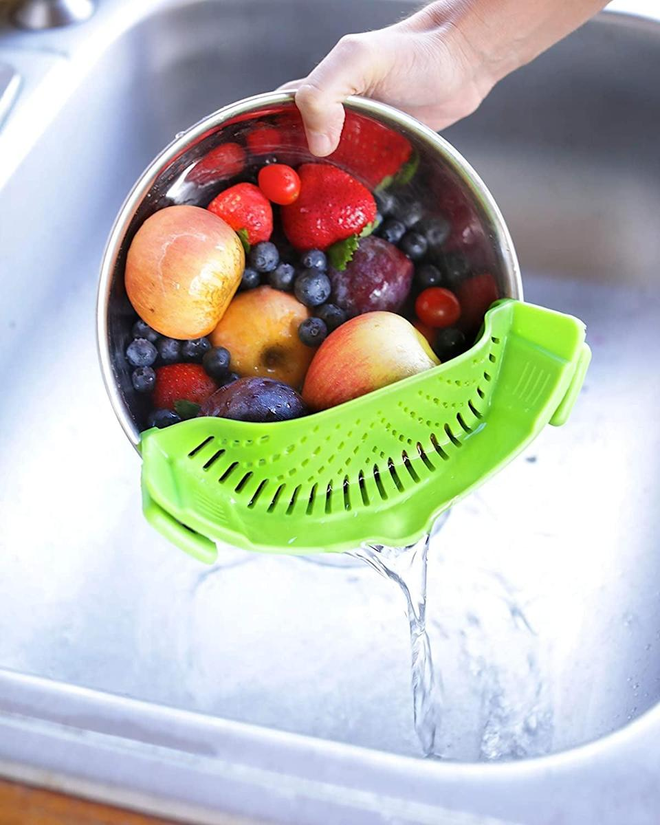 """<p>Easily strain your pasta or vegetables with this <a href=""""https://www.popsugar.com/buy/Clip--Kitchen-Food-Strainer-584983?p_name=Clip-On%20Kitchen%20Food%20Strainer&retailer=amazon.com&pid=584983&price=14&evar1=casa%3Aus&evar9=47575922&evar98=https%3A%2F%2Fwww.popsugar.com%2Fhome%2Fphoto-gallery%2F47575922%2Fimage%2F47575978%2FStrainer-With-2-Clips&list1=gadgets%2Ckitchens%2Chome%20shopping&prop13=mobile&pdata=1"""" class=""""link rapid-noclick-resp"""" rel=""""nofollow noopener"""" target=""""_blank"""" data-ylk=""""slk:Clip-On Kitchen Food Strainer"""">Clip-On Kitchen Food Strainer</a> ($14).</p>"""