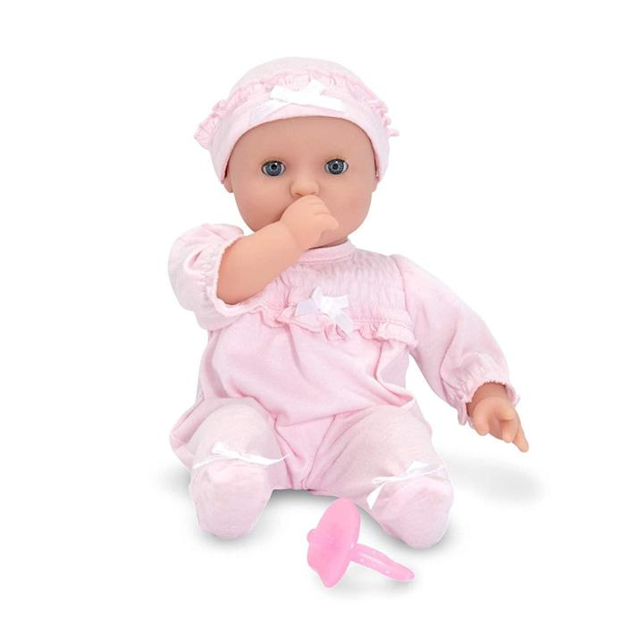 """Toddlers love to use their imagination to follow in your footsteps. Your little one will love&nbsp;<strong><a href=""""https://amzn.to/344cw7k"""" rel=""""nofollow noopener"""" target=""""_blank"""" data-ylk=""""slk:this adorable baby doll"""" class=""""link rapid-noclick-resp"""">this adorable baby doll</a></strong>. Better yet,&nbsp;it is made without the dreaded small accessories that come along with many dolls. <strong><a href=""""https://amzn.to/344cw7k"""" rel=""""nofollow noopener"""" target=""""_blank"""" data-ylk=""""slk:Get it on Amazon"""" class=""""link rapid-noclick-resp"""">Get it on Amazon</a></strong>."""