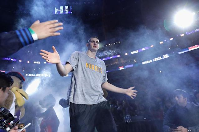 Denver center Nikola Jokic lasted until the second round of the 2014 NBA draft, but he's become one of the league's brightest young offensive stars. (Getty)