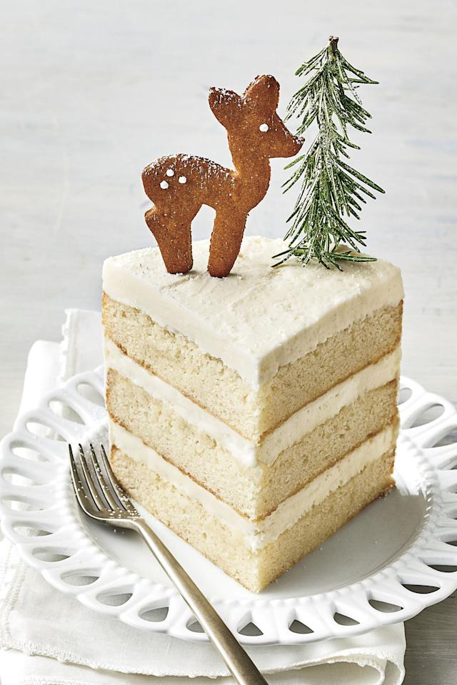 """<p>These sweet little cookies make an adorable topper for our <a href=""""http://southernliving.com/recipes/white-cake"""">Best White Cake recipe</a> along with a few rosemary trees. While you'll only need a few for the top of the cake, the recipe leaves you with plenty more for <a href=""""http://www.southernliving.com/christmas/recipes/easy-christmas-cookies"""">Christmas cookie</a> exchanges or Santa. We picked a few of our favorite cookie cutters: doe, cabin, and a car, but you can pick any shape you want. Decorate them simply with a few dots of royal icing, or get creative with sprinkles and frosting. </p> <p><a href=""""https://www.myrecipes.com/recipe/gingerbread-reindeer-cookies"""">Gingerbread Reindeer Cookies Recipe</a></p>"""