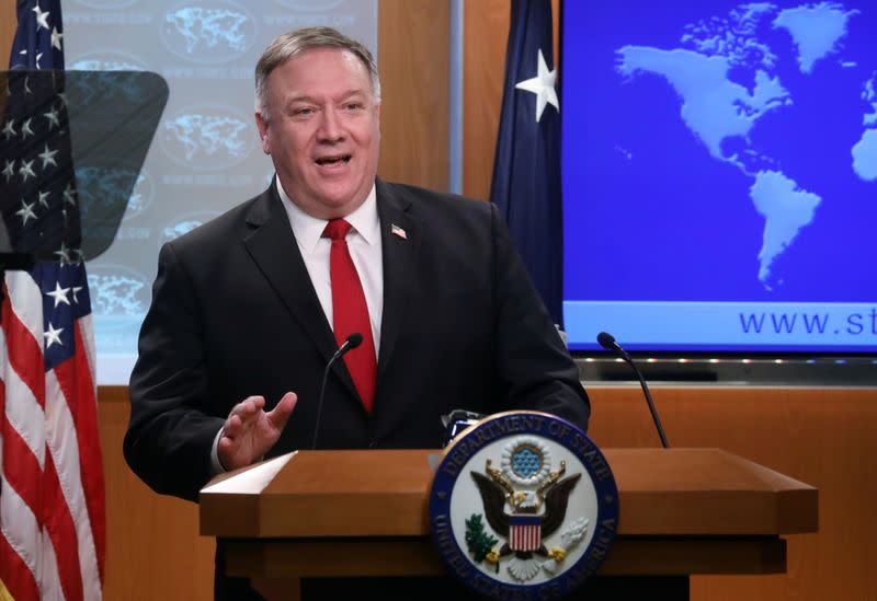 U.S. Secretary of State Pompeo addresses news conference at the State Department in Washington