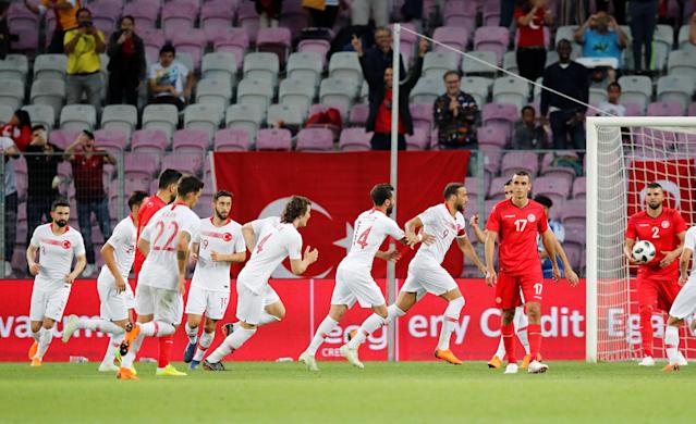 Soccer Football - International Friendly - Tunisia vs Turkey - Stade de Geneve, Geneva, Switzerland - June 1, 2018 Turkey's Cenk Tosun celebrates scoring their first goal with team mates REUTERS/Denis Balibouse
