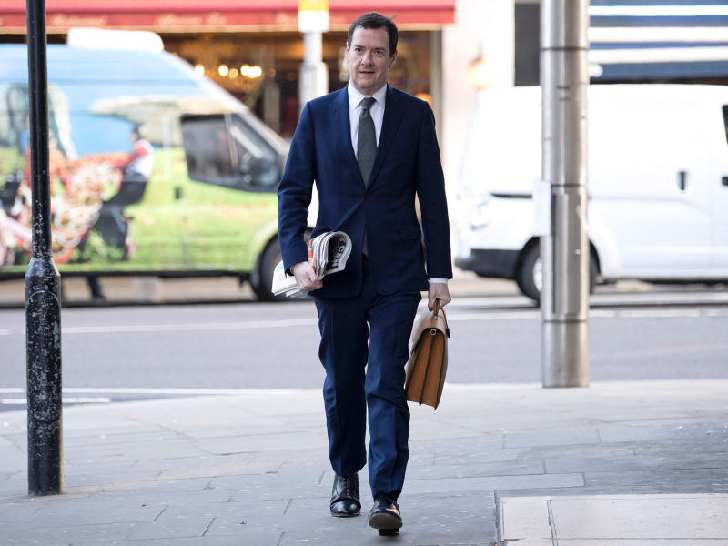 Britain's former Chancellor of the Exchequer, George Osborne, arrives on his first day at work as editor of the London Evening Standard newspaper in London on May 2, 2017: AFP/Getty