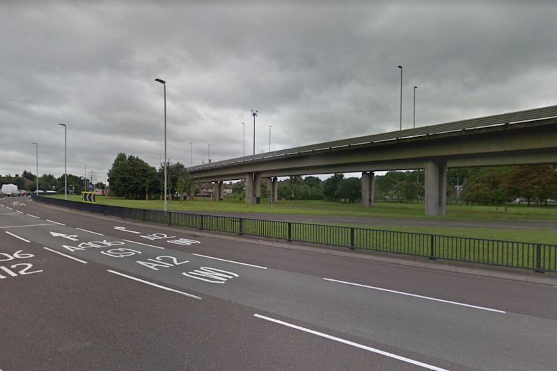 Crash: the collision happened on the A406 flyover above Redbridge Roundabout