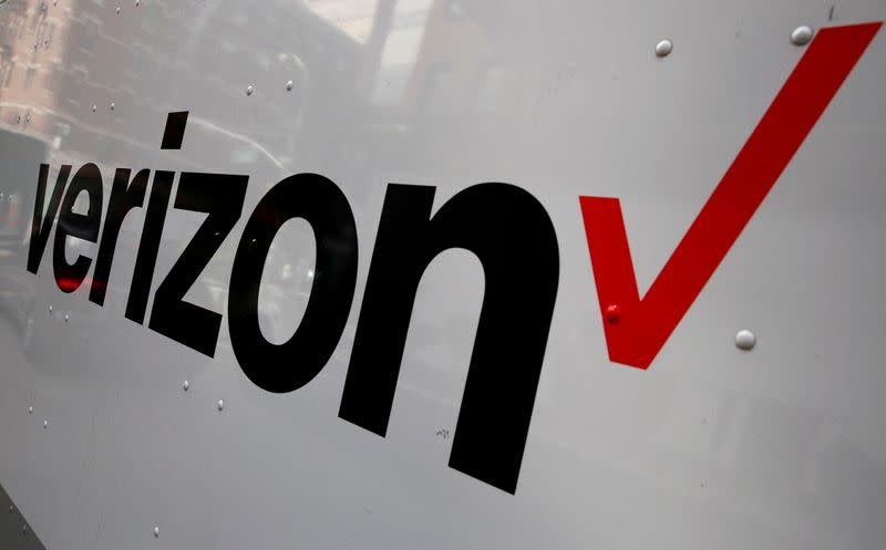 FILE PHOTO: The Verizon logo is seen on the side of a truck in New York