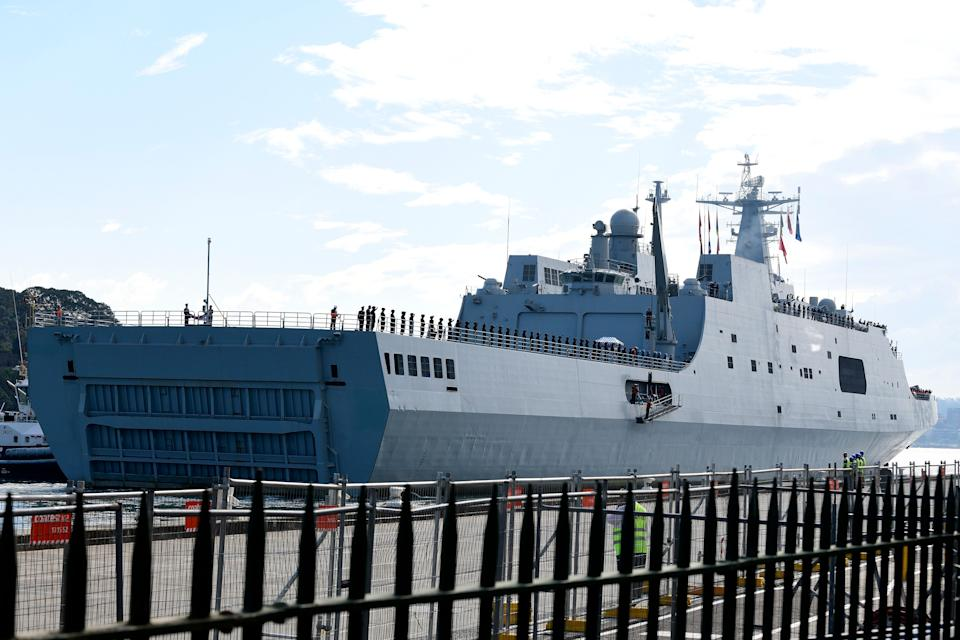 A large Chinese navy ship sits at Garden Island Naval Base in Sydney after the surprise visit.