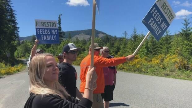 Forestry workers and their families from across Vancouver Island rallied on Saturday May 29, 2021 along a highway leading into the Fairy Creek watershed where several blockades are preventing logging in the area. (CHEK News - image credit)