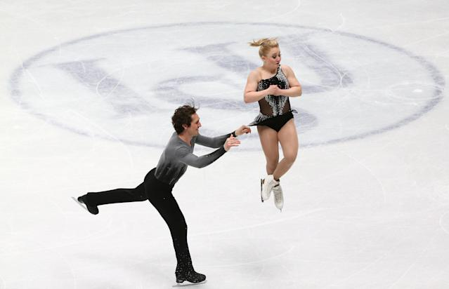 Figure Skating - World Figure Skating Championships - The Mediolanum Forum, Milan, Italy - March 21, 2018 Canada's Julianne Seguin and Charlie Bilodeau during the Pairs Short Programme REUTERS/Alessandro Bianchi