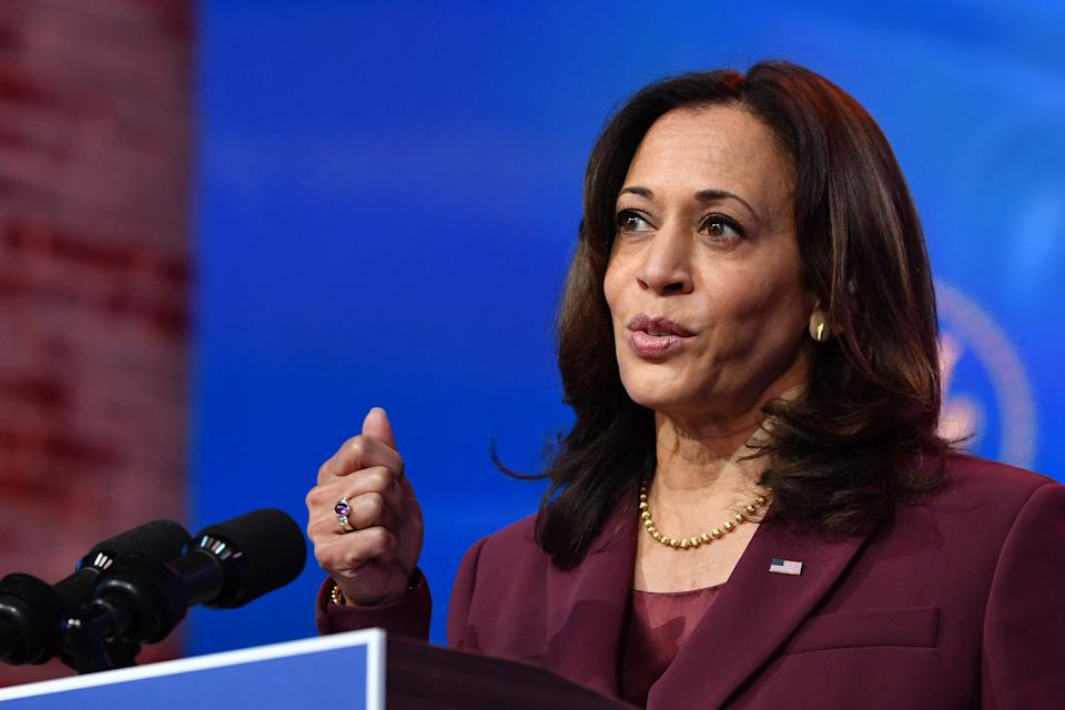 US Vice President-Elect Kamala Harris speaks during an event announcing the nomination of Dr. Miguel Cardona as Education Secretary at The Queen in Wilmington, Delaware, on December 23, 2020.