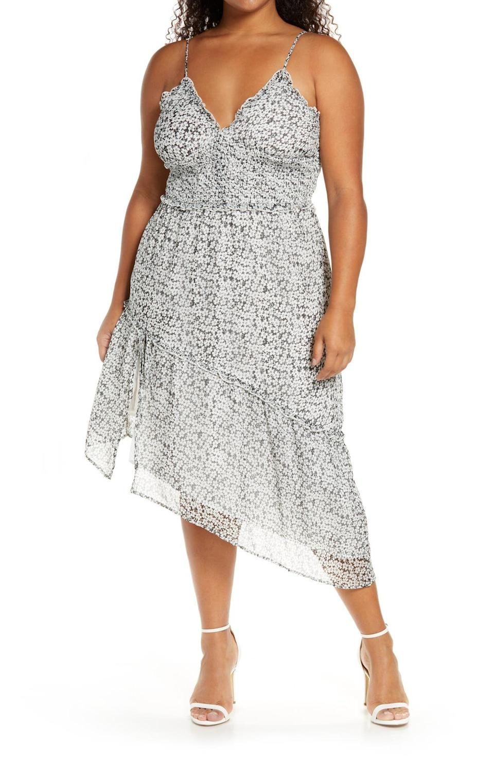 """<p><strong>Leith</strong></p><p>nordstrom.com</p><p><strong>$47.40</strong></p><p><a href=""""https://go.redirectingat.com?id=74968X1596630&url=https%3A%2F%2Fwww.nordstrom.com%2Fs%2Fleith-sleeveless-asymmetrical-dress-plus-size%2F5503666%3Forigin%3Dcategory-personalizedsort%26breadcrumb%3DHome%252FBrands%252FLeith%252FWomen%252FClothing%26color%3Dblack%2Bjenn%2Bgeo&sref=https%3A%2F%2Fwww.oprahmag.com%2Fstyle%2Fg25858020%2Fcute-spring-dresses%2F"""" rel=""""nofollow noopener"""" target=""""_blank"""" data-ylk=""""slk:SHOP NOW"""" class=""""link rapid-noclick-resp"""">SHOP NOW</a></p><p>With an asymmetric hem that will show off your shoes, this geometric floral print dress with a smocked waist is perfect for any warm weather parties. </p>"""