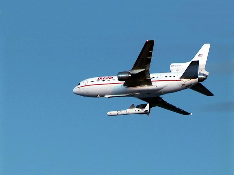 "In this undated image provided by NASA the Orbital Science Corporation's ""Stargazer"" plane is shown releasing its Pegasus rocket. NASA's NuSTAR will also launch from a Pegasus carried by the Stargazer plane. NASA's NuSTAR mission is scheduled to launch from Kwajalein Atoll in the central Pacific Ocean on June 13, 2012 no earlier than 8:30 a.m. PDT (11:30 a.m. EDT). The observatory, which will hunt for black holes and other exotic objects using specialized X-ray eyes, will be launched from a Pegasus XL rocket carried by an Orbital Science Corporation L-1011 ""Stargazer"" plane. (AP Photo/Orbital Science Corporation via NASA)"