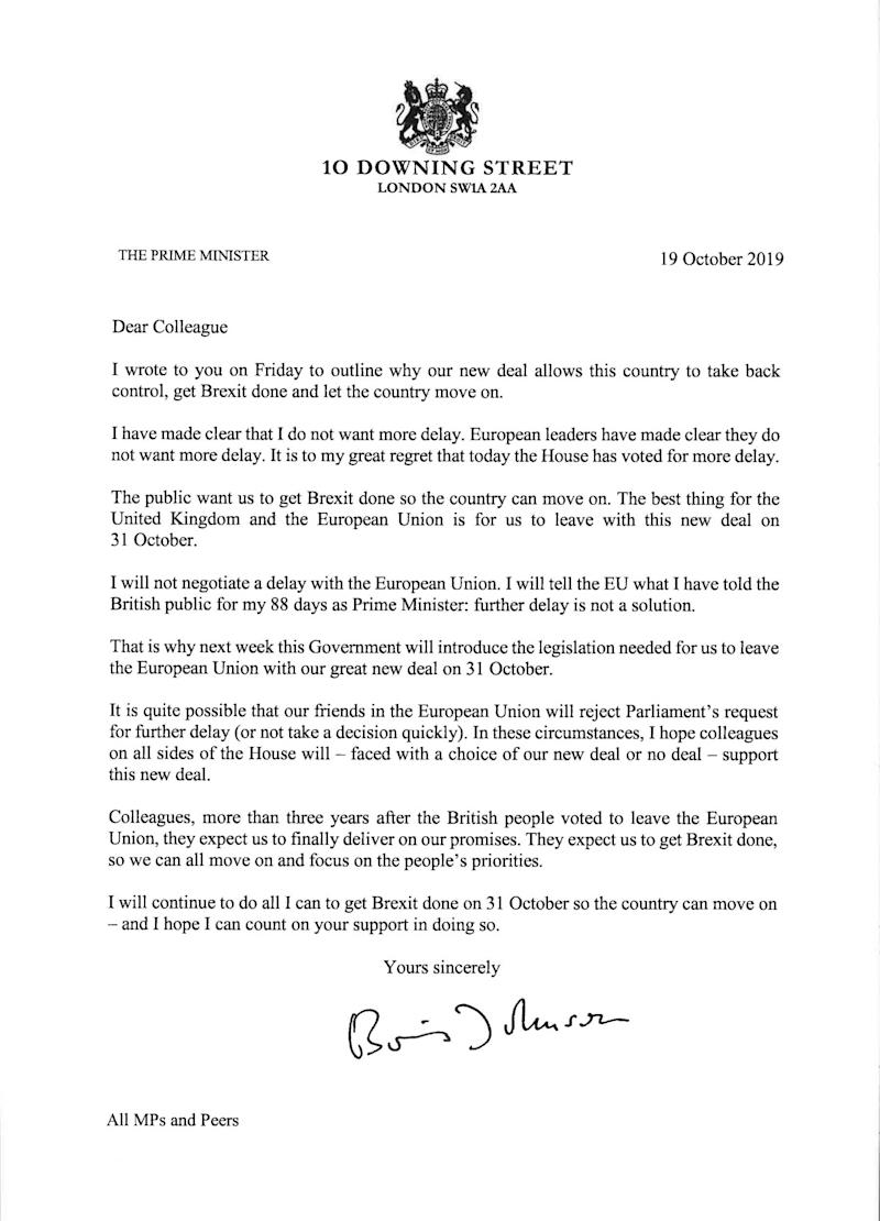 Prime Minister Boris Johnson to MPs saying he will tell the EU that