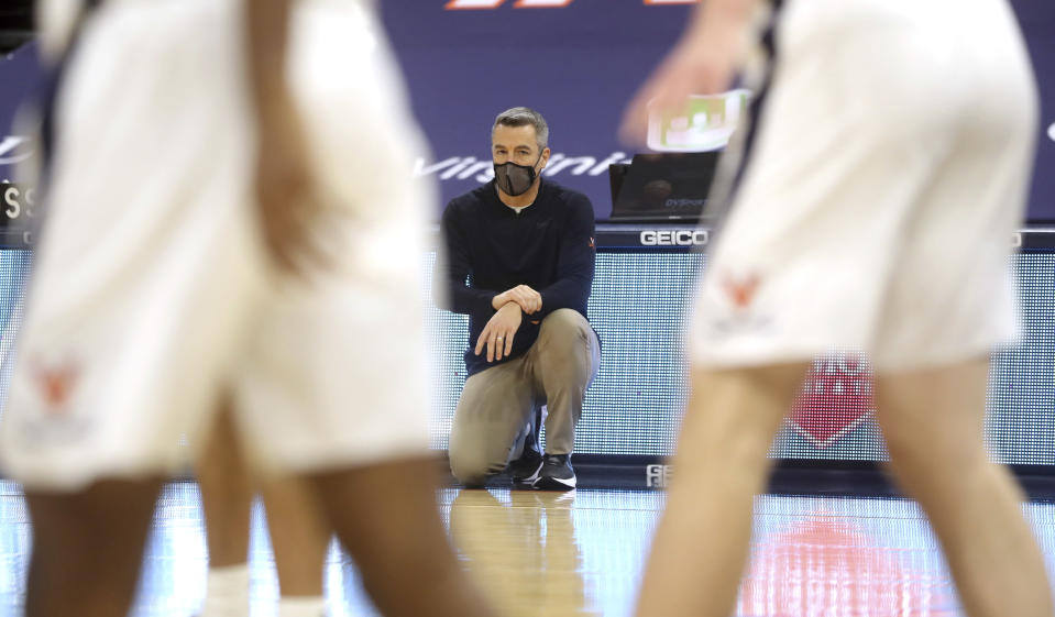Virginia head coach Tony Bennett watches a play during an NCAA college basketball game against Miami, Monday in Charlottesville, Va. (Andrew Shurtleff/The Daily Progress via AP, Pool)