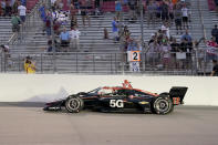 Will Power (12) drives during an IndyCar auto race at World Wide Technology Raceway on Saturday, Aug. 21, 2021, in Madison, Ill. (AP Photo/Jeff Roberson)