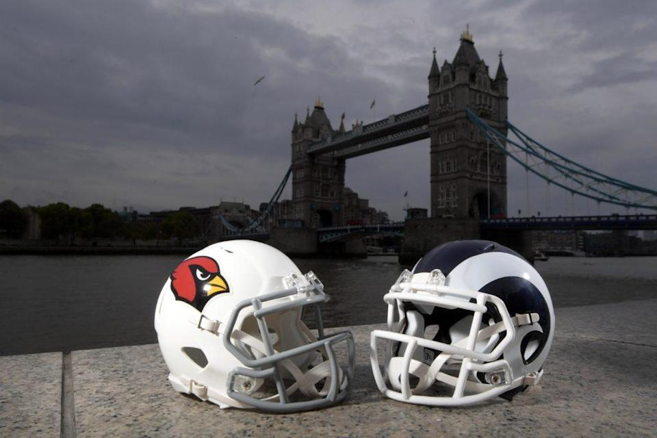 Oct 19, 2017; London, United Kingdom; General overall view of Arizona Cardinals (left) and Los Angeles Rams helmets with the Tower Bridge and River Thames as a backdrop. Mandatory Credit: Kirby Lee-USA TODAY Sports