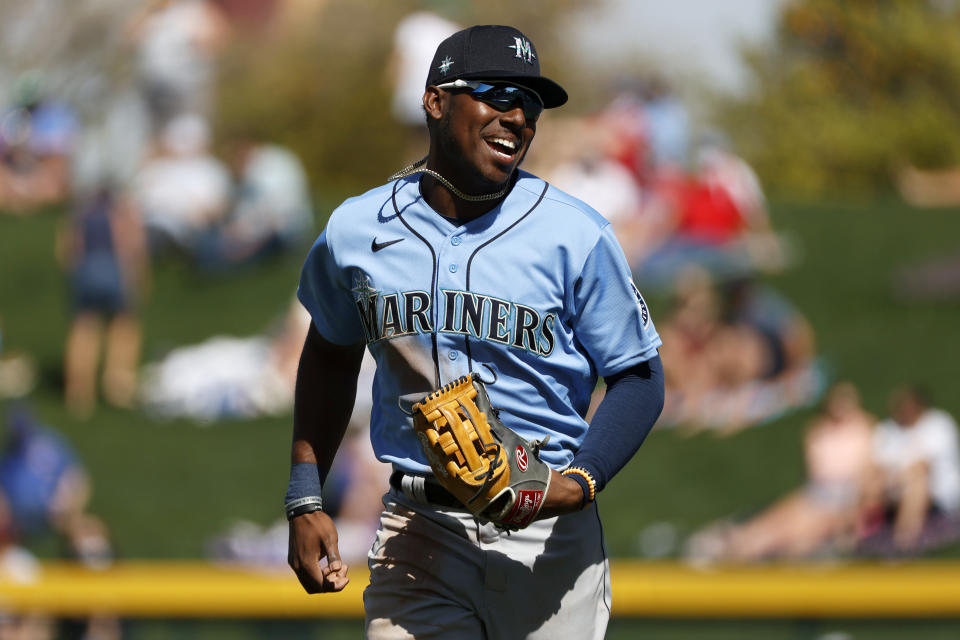 MESA, ARIZONA - MARCH 03: Kyle Lewis #1 of the Seattle Mariners reacts after the second inning against the Chicago Cubs on March 03, 2021 at Sloan Park in Mesa, Arizona. (Photo by Steph Chambers/Getty Images)