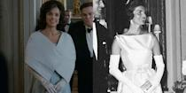 <p>So much of the allure of Jackie Kennedy was wrapped up in her fashion choices, so her costume design for her season 2 appearance was extremely important. The show opted to stray from the sleeveless taffeta column gown the First Lady wore in 1961, but kept with a similar vibe and long white gloves. </p>
