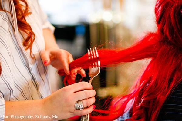 """photo by:Shari Photography<br> Jamie preps for the wedding by having her hair combed with Ariel the Mermaid's """"Dinglehopper."""""""
