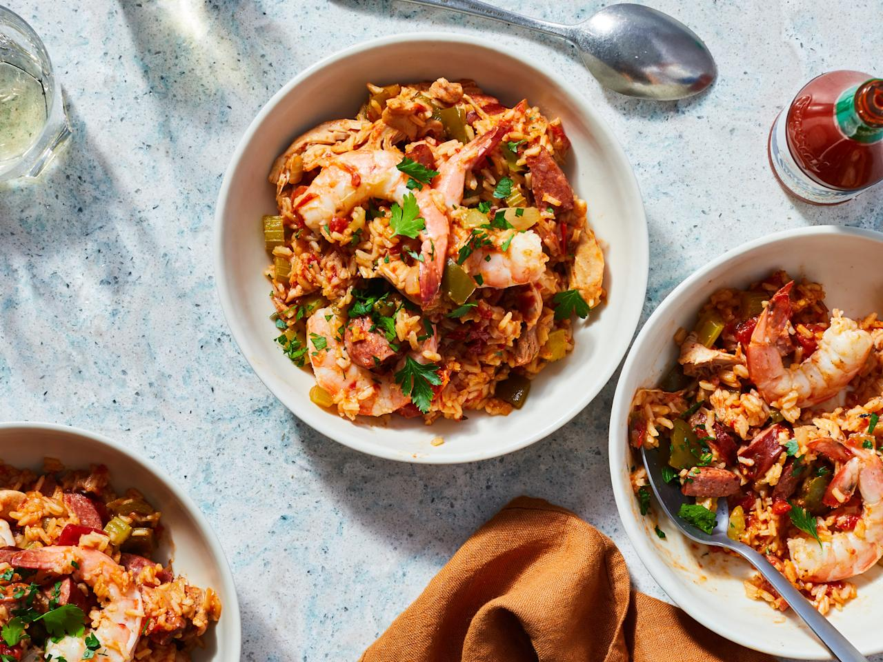 """<p>Have dinner ready when you come home with this ultimate, slow-cooker Jambalaya. Featuring chicken, shrimp and smoked sausage, this classic Creole rice dish is perfect for the <a href=""""http://https://www.myrecipes.com/slow-cooker-recipes"""">slow-cooker </a>as all the flavors blend together over time in a marvelous way. As a simple one-pot meal, bring Jambalaya to your next potluck as a crowd-pleasing dish that doesn't skimp on flavor or presentation. Don't be afraid of making too much because leftover Jambalaya still tastes great warmed up the next day with a splash of your favorite hot sauce.</p> <p><a href=""""https://www.myrecipes.com/recipe/easy-slow-cooker-jambalaya"""">Easy Slow-Cooker Jambalaya Recipe</a></p>"""