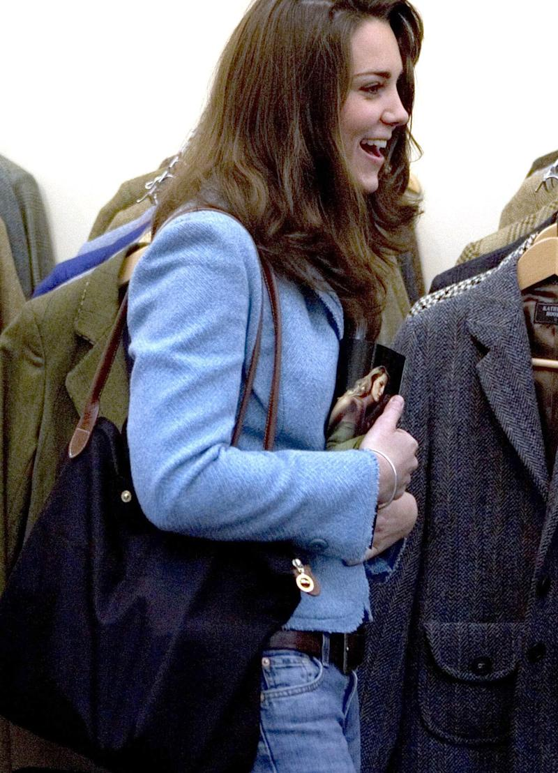 One of several occasions that Kate Middleton has carried a Longchamp Le Pliage tote bag, in 2005