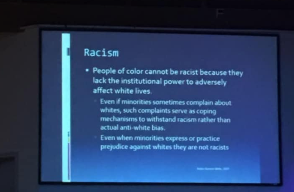 """Slides from Hamilton County, Tennessee's in-service for teachers causes outrage for including """"racism"""" and """"white privilege,"""" however, board representatives claim that the slides have been taken out of context. (Photo: Facebook)"""