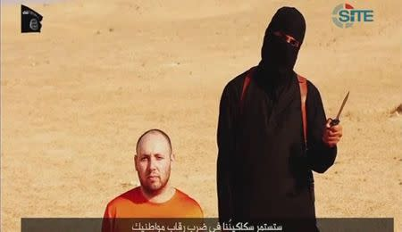 Still image from video of Sotloff kneeling next to a masked Islamic State fighter