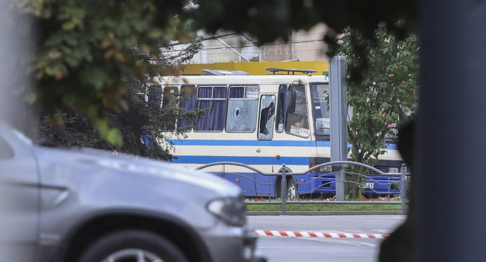 The bus with hostages on a road in the downtown of the Western Ukrainian city of Lutsk, Ukraine.