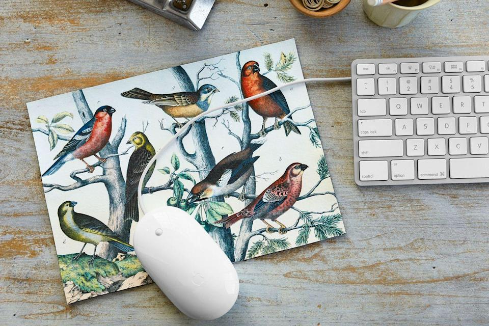 """<p>Build a better mouse pad: Put a bird—or seven—on it! Download the free <a href=""""http://thegraphicsfairy.com/instant-art-printable-birds-on-branches-natural-history/"""" rel=""""nofollow noopener"""" target=""""_blank"""" data-ylk=""""slk:illustration"""" class=""""link rapid-noclick-resp"""">illustration</a> above. Resize the image to 10""""W x 7 1/4""""H and print onto fabric-transfer paper<em>.</em> Cut out the image from the transfer paper, remove the backing, and place, right side facing up, on the smooth side of a piece of <a href=""""https://go.redirectingat.com?id=74968X1596630&url=http%3A%2F%2Fwww.michaels.com%2Fsuede-leather-trim-artminds%2FM10297417.html%3Fdwvar_M10297417_color%3DMedium%2BBrown%23start%3D6&sref=https%3A%2F%2Fwww.countryliving.com%2Fdiy-crafts%2Ftips%2Fg645%2Fcrafty-christmas-presents-ideas%2F"""" rel=""""nofollow noopener"""" target=""""_blank"""" data-ylk=""""slk:top-grain leather"""" class=""""link rapid-noclick-resp"""">top-grain leather</a><em>.</em> Iron the image onto the leather, following the transfer-paper package instructions, and trim away the excess leather bordering the flock.</p><p><a class=""""link rapid-noclick-resp"""" href=""""https://go.redirectingat.com?id=74968X1596630&url=http%3A%2F%2Fwww.michaels.com%2Fsuede-leather-trim-artminds%2FM10297417.html%3Fdwvar_M10297417_color%3DMedium%2BBrown%23start%3D6&sref=https%3A%2F%2Fwww.countryliving.com%2Fdiy-crafts%2Ftips%2Fg645%2Fcrafty-christmas-presents-ideas%2F"""" rel=""""nofollow noopener"""" target=""""_blank"""" data-ylk=""""slk:SHOP LEATHER"""">SHOP LEATHER</a></p>"""