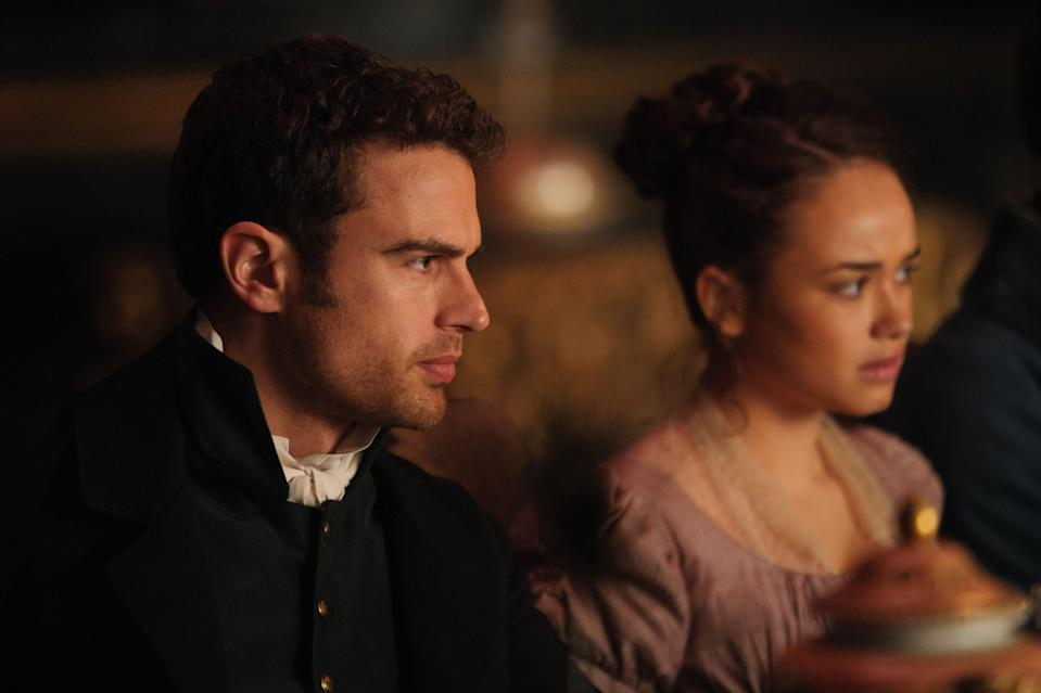 "Sidney Parker (Theo James) and Charlotte Heywood (Rose Williams) in ""Sanditon."""