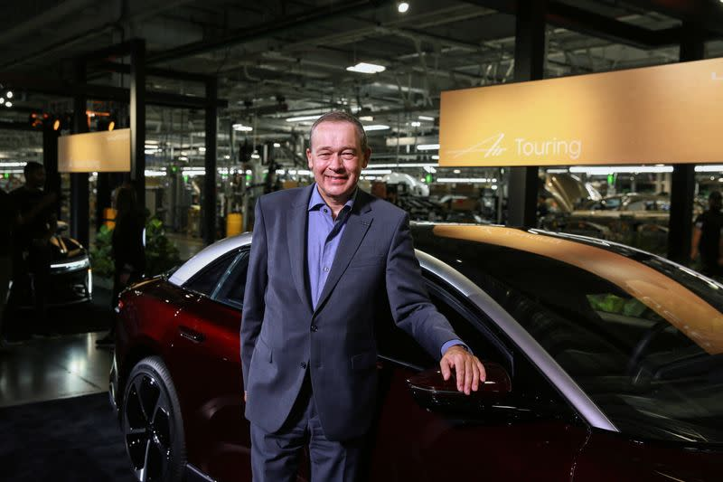 CEO Peter Rawlinson poses at the Lucid Motors plant in Casa Grande