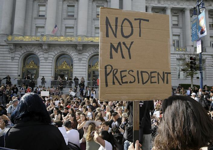 <p>High school students protest in opposition of Donald Trump's presidential election victory in front of City Hall in San Francisco, Thursday, Nov. 10, 2016. (AP Photo/Eric Risberg) </p>