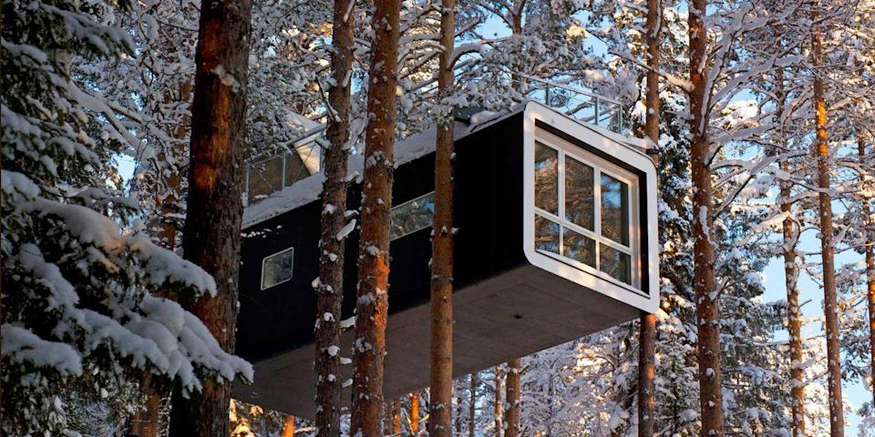 """<p>If you haven't yet outgrown your backyard treehouse, here's your chance to sleep in an actual treehouse. The <a href=""""https://go.redirectingat.com?id=74968X1596630&url=https%3A%2F%2Fwww.tripadvisor.com%2FHotel_Review-g6200614-d1872348-Reviews-Treehotel-Harads_Norrbotten_County.html&sref=https%3A%2F%2Fwww.elledecor.com%2Flife-culture%2Fg37430670%2Funique-unusual-hotels-in-the-world%2F"""" rel=""""nofollow noopener"""" target=""""_blank"""" data-ylk=""""slk:Treehotel"""" class=""""link rapid-noclick-resp"""">Treehotel</a> (shown here) in Harads, Sweden, has six one-of-a-kind treehouse-style rooms, many with ultra modern designs. </p><p>You'll also find treehouse rooms at the <a href=""""https://go.redirectingat.com?id=74968X1596630&url=https%3A%2F%2Fwww.tripadvisor.com%2FHotel_Review-g2148067-d2619334-Reviews-Bangkok_Tree_House-Phra_Pradaeng_Samut_Prakan_Province.html&sref=https%3A%2F%2Fwww.elledecor.com%2Flife-culture%2Fg37430670%2Funique-unusual-hotels-in-the-world%2F"""" rel=""""nofollow noopener"""" target=""""_blank"""" data-ylk=""""slk:Bangkok Tree House"""" class=""""link rapid-noclick-resp"""">Bangkok Tree House</a> in <a href=""""https://www.bestproducts.com/fun-things-to-do/g21100216/things-to-do-in-thailand/"""" rel=""""nofollow noopener"""" target=""""_blank"""" data-ylk=""""slk:Thailand"""" class=""""link rapid-noclick-resp"""">Thailand</a>, including one with no walls or ceiling, called the View With a Room, and at <a href=""""https://go.redirectingat.com?id=74968X1596630&url=https%3A%2F%2Fwww.tripadvisor.com%2FHotel_Review-g50381-d3474675-Reviews-The_Mohicans-Glenmont_Ohio.html&sref=https%3A%2F%2Fwww.elledecor.com%2Flife-culture%2Fg37430670%2Funique-unusual-hotels-in-the-world%2F"""" rel=""""nofollow noopener"""" target=""""_blank"""" data-ylk=""""slk:The Mohicans"""" class=""""link rapid-noclick-resp"""">The Mohicans</a>, a rustic cabin-and-treehouse hideaway in Glenmont, Ohio, which has hosted <a href=""""https://www.bestproducts.com/fun-things-to-do/g2909/celebrity-vacation-spots/"""" rel=""""nofollow noopener"""" target=""""_blank"""" data-ylk=""""slk:celebrities"""" class=""""link rapid"""